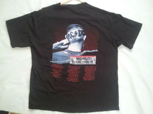 VTG BROCKUM MADE USA 1990-91 ACD/C BACK IN BLACK ORIGINAL TOUR T-SHIRT SIZE XL