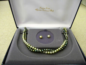 Genuine Freshwater Pearl Necklace & Earrings Set #171