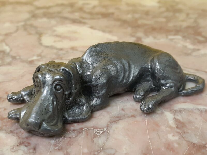 Ricker Pewter Hound Dog Figurine Vintage 1976 Metal Sleeping Dog Collectible