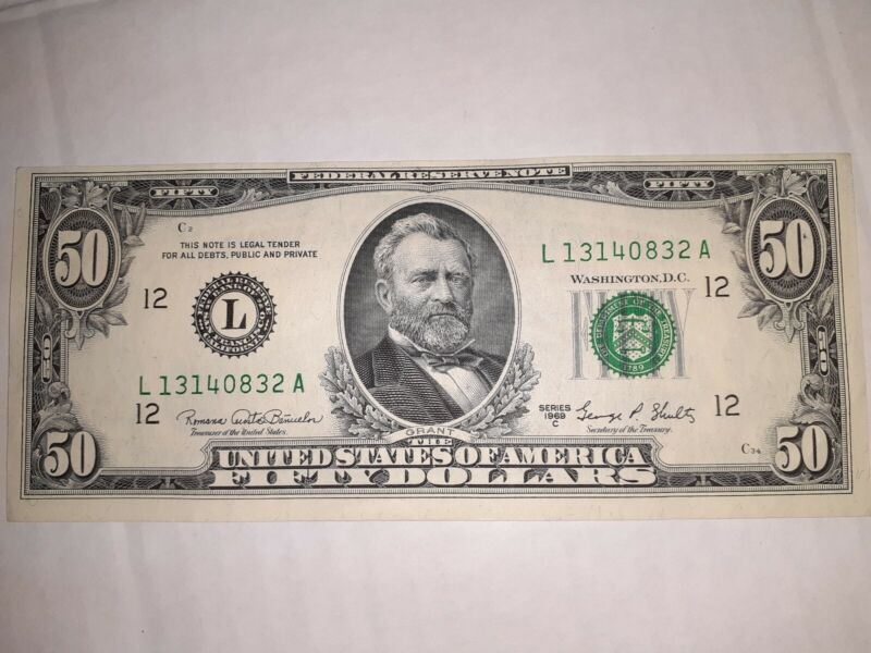 RARE! SERIES 1969 C- $50 DOLLAR SILVER CERTIFICATE  NOTE  USA CURRENCY BANKNOTE!
