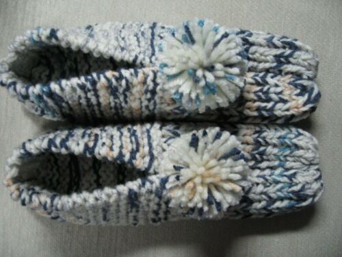 """Amish Cozy Handmade Knit House Slippers Aran Blue Mix Womens Med Mans Small 9"""""""