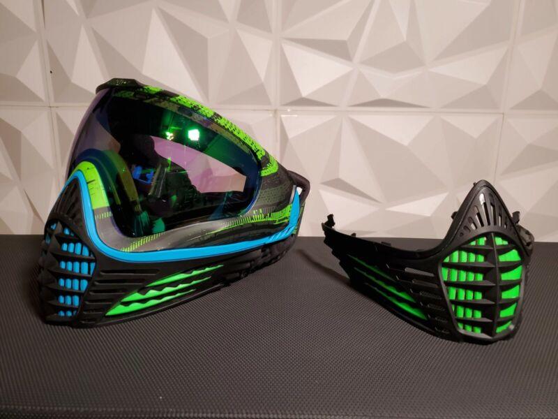 Virture Vio Countour Paintball Mask Black/Green/Blue w/ Extra Bottom Face Mask