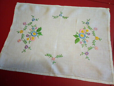 Vintage Linen Tray Cloth with Daisy Embroidery