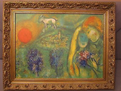 """CHAGALL  MARC   ARTWORK  """" THE LOVERS  OF VENCE """" LITHOGRAPH ON BOARD.."""