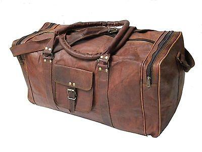 """24"""" New Men's duffel genuine Brown Leather large vintage travel gym weekend bag"""