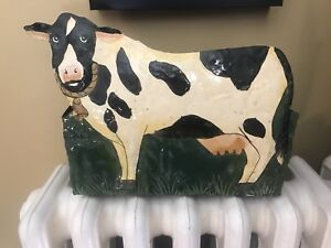 Vintage solid metal 'cow' box