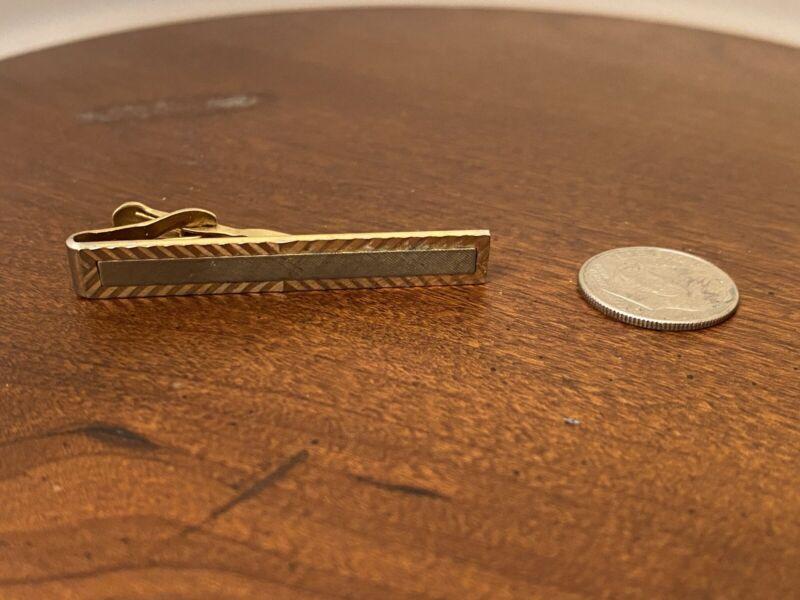 Vintage Swank Classic Gold Silver Tone Tie Slide Bar Clip