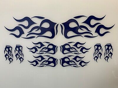 Motorcycle/Wheelchair/Auto/Truck Vinyl Graphic Flame Kit - GLOSS NAVY for sale  Independence