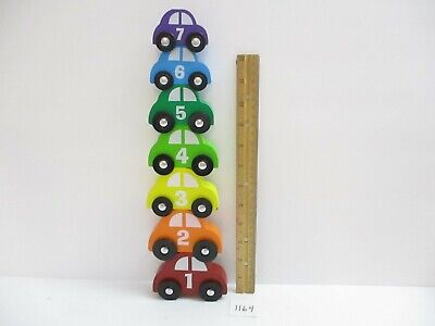 Melissa & Doug Wooden Nesting, Stacking, Sorting, Numbered Wood Cars -NO Garages