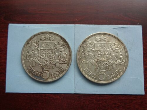 1929 and 1931 Latvia 5 Lati  2 Large silver coins lot