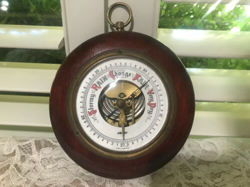 """Vintage SWIFT Barometer Wall Mount WEST GERMANY 5"""" Round Wood Weather Station"""