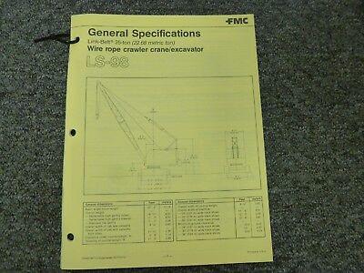 Link-belt Ls-98 Excavator Crane Specifications Lifting Capacities Manual