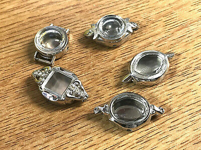 Lot of 5 Ladies Watch C end Silver & Gold Cases Parts Repair Crafts Jewelry Old