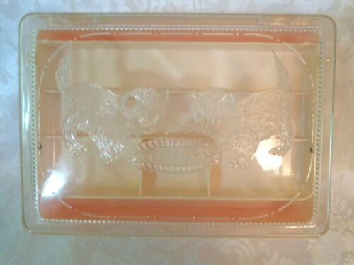 Vintage Pink Plastic Two Kittens At A Bowl Sewing Box Hommer Mfg. Co. Newark N.J