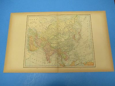"1893 Popular Atlas Map 2 Page, Asia, Nice Color,Suitable To Frame 13 1/2"" X 22"""