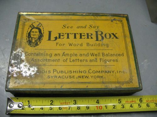 SEE AND SAY LETTER  BOX WORD BUILDER  TIN  VINTAGE  ORIGINAL   USA