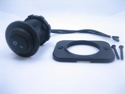 Waterproof Rocker Toggle Switch Spst Marine Panel Socket Round 12v Black On -off