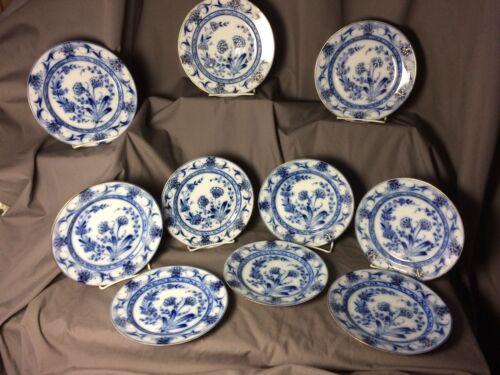 "Antique Signed Pirkenhammer Flow Blue Gold 7 3/8"" 192 Translucent Set Plates"