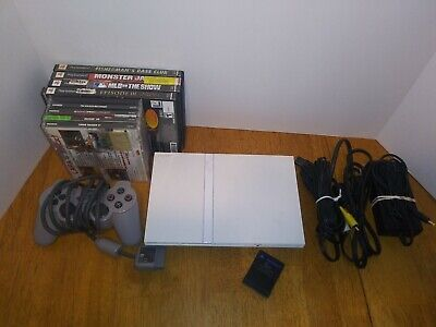 SONY PLAYSTATION 2 Console WHITE w/ 4 PS2  & 5 PS1 games Tested Bundle.