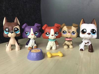 5×Littlest Pet Shop LPS Toys Figure Collie Dogs #817 #577 #2210 #1542 #1676