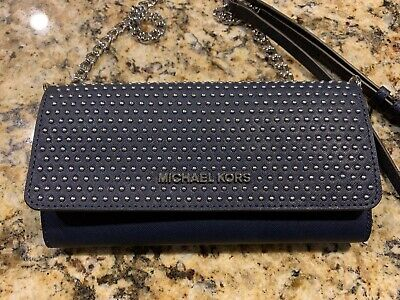 MICHAEL Michael Kors Micro Stud Wallet On A Chain Navy Blue NWT