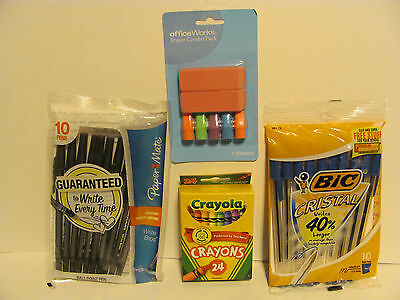 Crayola Crayons, erasers, Bic blue  and  Paper Mate black ink pens     NEW   #3](Erasers And Crayons)