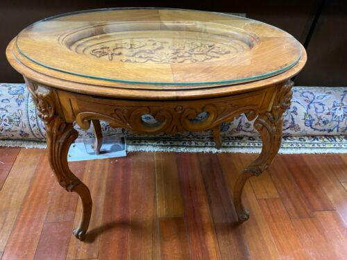 Vintage Oval Carved Coffee Table w/ Removable Glass Tray Top