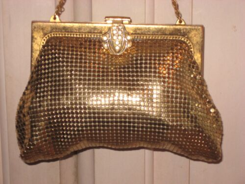 Whiting & Davis Gold Mesh Clutch Rhinestone Evening Bag Vintage Metal Purse 2978