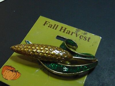 CORN brooch pin sparkles green yellows Fall Harvest NEW & UNUSED FREE SH