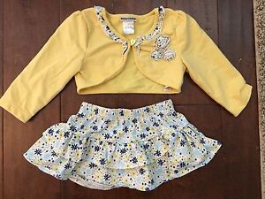 18 month baby girl skirt and sweater outfit