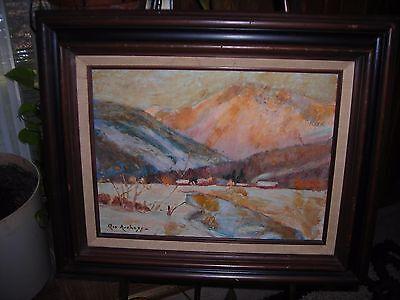 Art, vintage,Oil painting artist signed Impressionist landscape