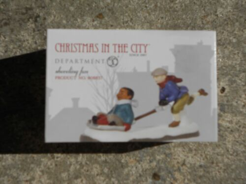 DEPT 56 CHRISTMAS IN THE CITY Accessory SHOVELING FUN NIB *Sleeve slightly faded