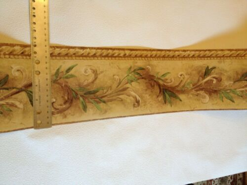 CROWN MOLDING STYLE WITH VINES PREPASTED WALLPAPER BORDER # 7018-821B
