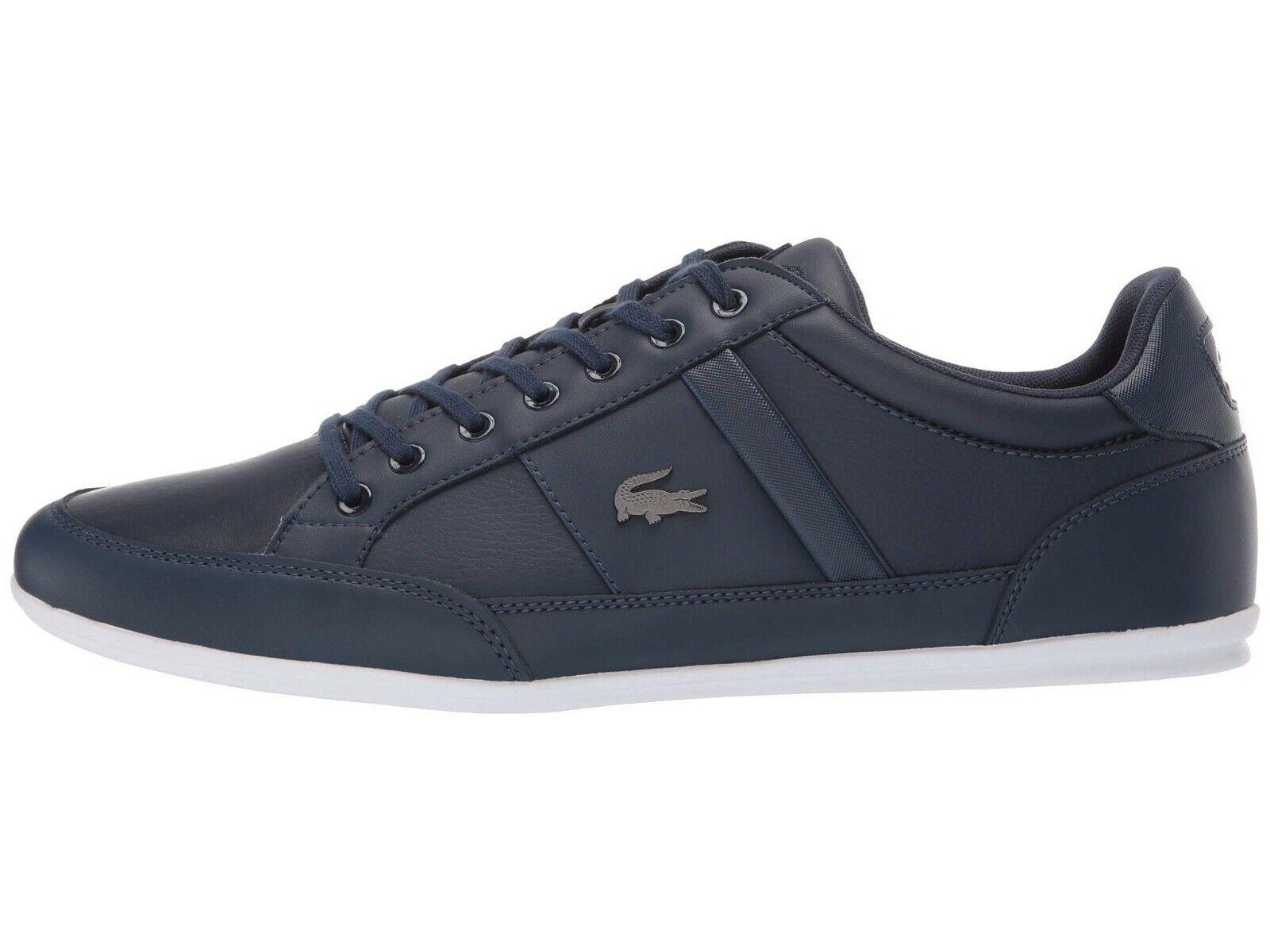 LACOSTE Chaymon BL Navy Blue Croc Logo Leather Shoes Men's Fashion Sneakers