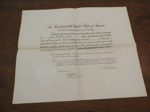 Woodrow Wilson - Document Signed - Shortly After Declaring War on Germany WWI