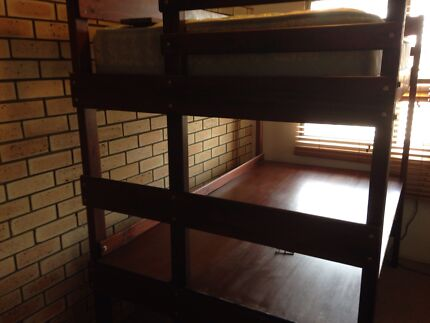 Solid Wood King Bed / Desk and King Single Mattress