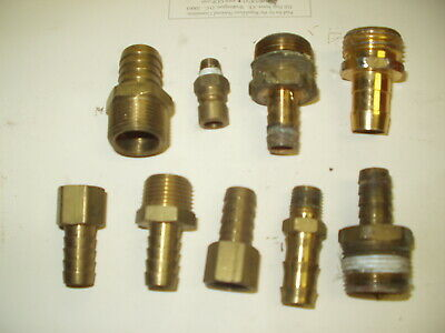 Used Brass Fittings -various Sizes -lot Of 8 Pcs Including Plastic Hose Fitting