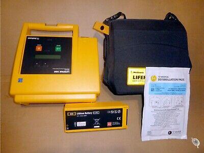 Lifepak 500 Aed With New Pads -oem Battery Carry Case Medtronic