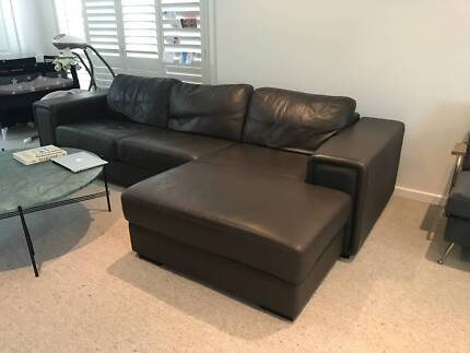 Demir leather 3 seater sofa with chaise