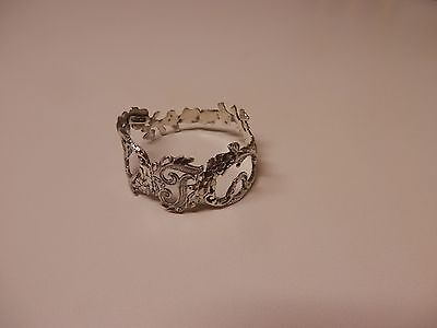 Napkin Ring with a ( Initial ( T )Rose Vine Design Sterling Silver