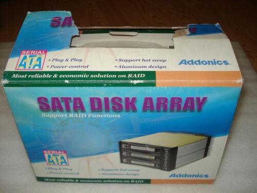 (New) Addonics AE3RCS35NSA SATA DISK ARRAY 3 BAY HARD DRIVE w/3 Cables + Screw