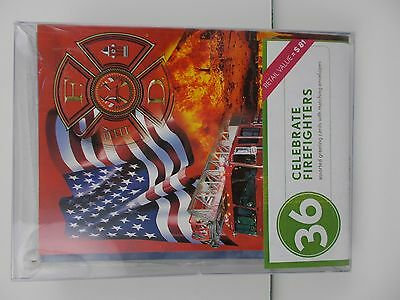 Fireman truck 36 Greeting Cards Note card hero American flag & envelopes 4th