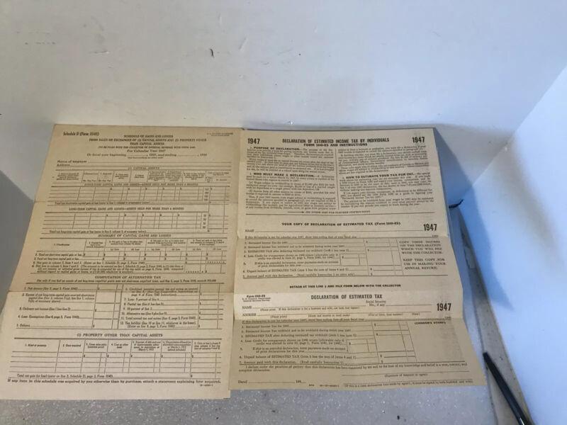 1947 Blank U.S. Tax Form 1040-ES & Schedule D