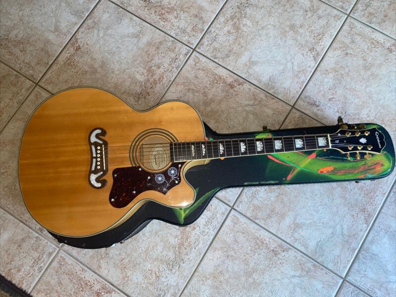 Epiphone EJ-200ce Vintage Sunburst Jumbo 6 String Acoustic Guitar Blonde Clean