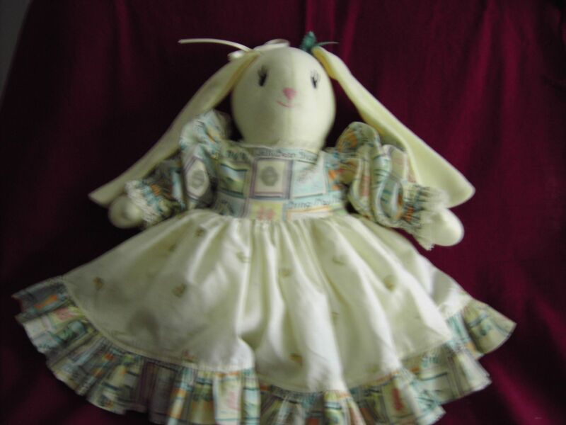 Rabbit Stuffed Doll with Dress Slip and panties - Handmade for Decoration