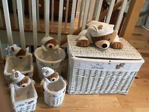Bears Wicker Storage Boxes