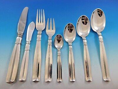 Lotus by Sorensen Danish Sterling silver Flatware Set 12 Service 105 pcs Dinner
