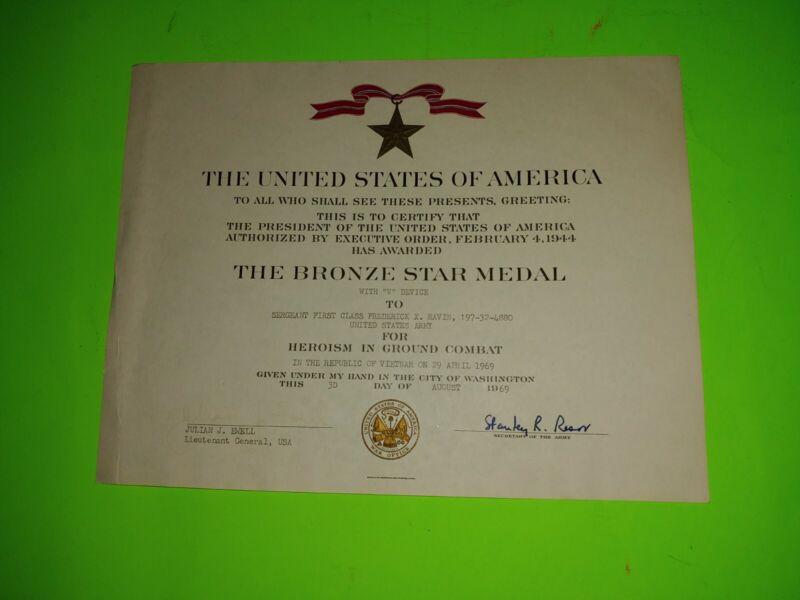 Vietnam War 1965-1966, The Bronze Star Metal Certificate US Army Named Soldier