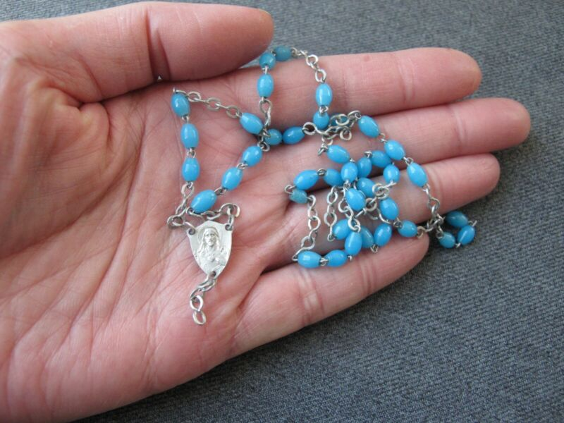 Vintage sky blue plastic beads & medal for rosary making repurpose replacement