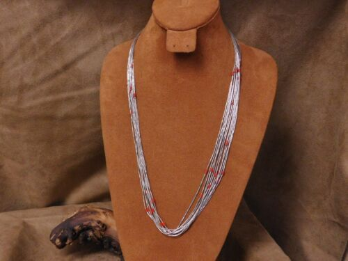 Liquid Sterling Silver and Coral Heshi 10 Strand Necklace